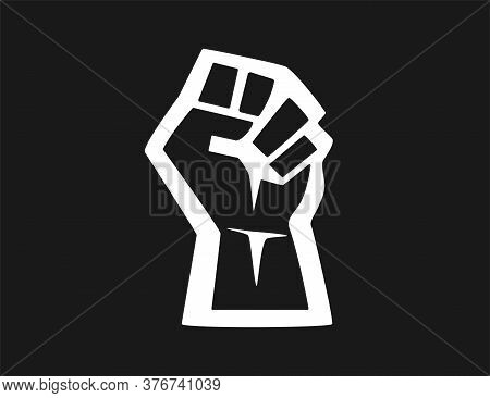 Black Silhouette Of A Male Rising Fist On A White Background With White Lines. Black Lives Matter. S