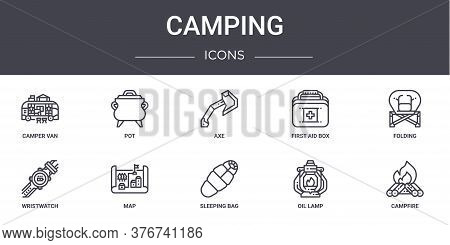 Camping Concept Line Icons Set. Contains Icons Usable For Web, Logo, Ui Ux Such As Pot, First Aid Bo