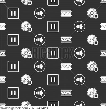 Set Drum, Vinyl Disk, Pause Button And Speaker Volume On Seamless Pattern. Vector