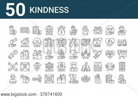 Set Of 50 Kindness Icons. Outline Thin Line Icons Such As Donors, Praying, Crowdfunding, Megaphone,