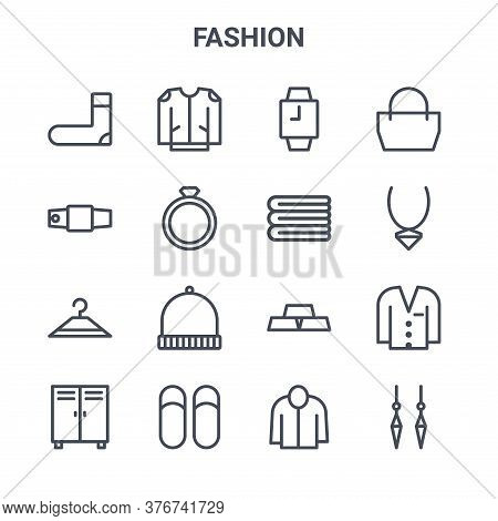 Set Of 16 Fashion Concept Vector Line Icons. 64x64 Thin Stroke Icons Such As Jacket, String Belt, Ne