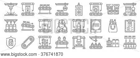Mass Production Line Icons. Linear Set. Quality Vector Line Set Such As Consumer, Cupcakes, Engineer