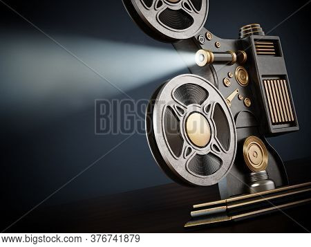 Vintage Movie Projector Isolated On White Background. 3d Illustration.