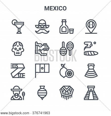 Set Of 16 Mexico Concept Vector Line Icons. 64x64 Thin Stroke Icons Such As Mexican Hat, Skull, Ciga