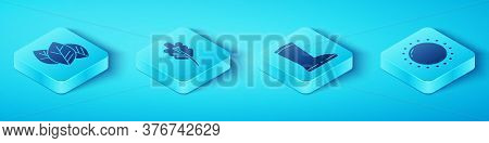 Set Isometric Leaf Or Leaves, Leaf Or Leaves, Sun And Waterproof Rubber Boot Icon. Vector