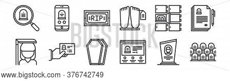 12 Set Of Linear Funeral Icons. Thin Outline Icons Such As Cemetery, Funeral, Funeral, Morgue, Funer