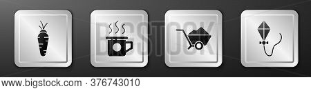 Set Carrot, Cup Of Tea, Wheelbarrow With Dirt And Kite Icon. Silver Square Button. Vector