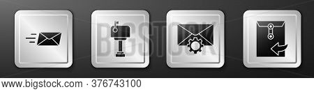 Set Express Envelope, Mail Box, Envelope Setting And Envelope Icon. Silver Square Button. Vector