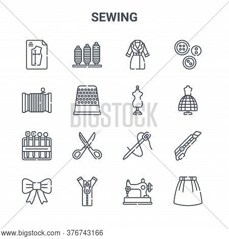 Set Of 16 Sewing Concept Vector Line Icons. 64x64 Thin Stroke Icons Such As Thread, Thread, Mannequi