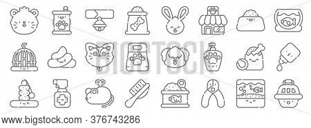 Pets Line Icons. Linear Set. Quality Vector Line Set Such As Pet Carrier, Nail Clipper, Pet Brush, P