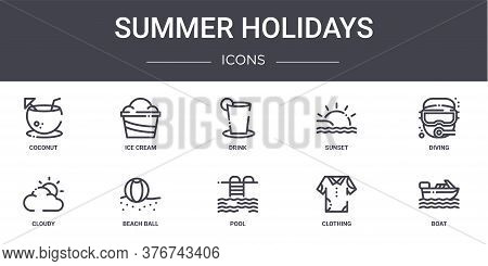 Summer Holidays Concept Line Icons Set. Contains Icons Usable For Web, Logo, Ui Ux Such As Ice Cream