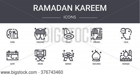 Ramadan Kareem Concept Line Icons Set. Contains Icons Usable For Web, Logo, Ui Ux Such As Praying, P