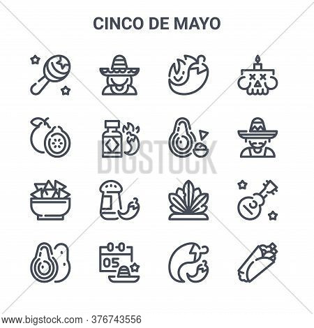 Set Of 16 Cinco De Mayo Concept Vector Line Icons. 64x64 Thin Stroke Icons Such As Mexican, Guava, M
