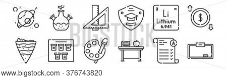 12 Set Of Linear Academy Icons. Thin Outline Icons Such As Whiteboard, Desk, Schedule, Lithium, Rule
