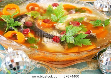 Carp In Jelly With Carrot And Cranberry For Christmas