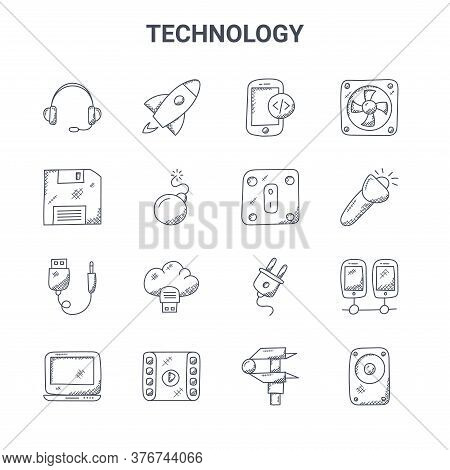 Set Of 16 Technology Concept Vector Line Icons. 64x64 Thin Stroke Icons Such As Startup, Floppy Disc