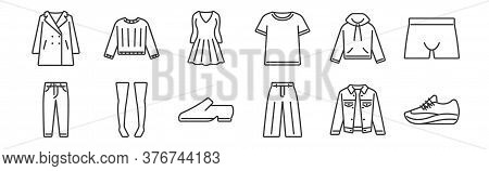 12 Set Of Linear Clothes And Outfit Icons. Thin Outline Icons Such As Sport Shoe, Loose Pants, Knee