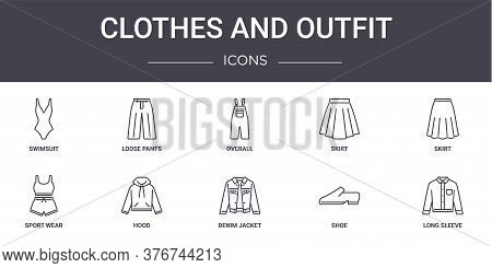Clothes And Outfit Concept Line Icons Set. Contains Icons Usable For Web, Logo, Ui Ux Such As Loose
