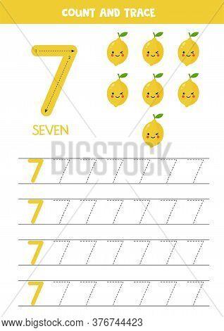 Worksheet For Kids. Seven Cute Cartoon Kawaii Lemons. Tracing Number 7.