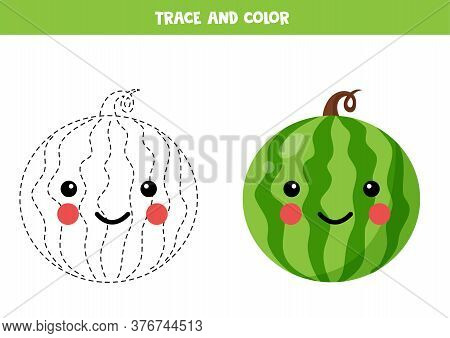 Tracing And Coloring Cute Kawaii Watermelon. Game For Kids.