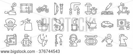 Free Time Line Icons. Linear Set. Quality Vector Line Set Such As Horse, Rafting, Fishing, Board Gam