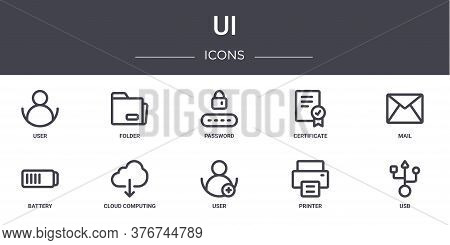 Ui Concept Line Icons Set. Contains Icons Usable For Web, Logo, Ui Ux Such As Folder, Certificate, B