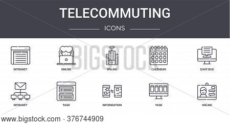 Telecommuting Concept Line Icons Set. Contains Icons Usable For Web, Logo, Ui Ux Such As Online, Cal