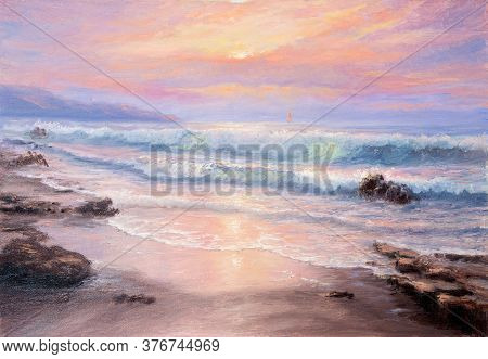 Original  Oil Painting Of Beautiful Purple Sunset Over Ocean Beach And Lighthouse On Canvas.modern I