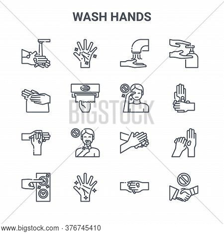 Set Of 16 Wash Hands Concept Vector Line Icons. 64x64 Thin Stroke Icons Such As Hand, Hand, Washing