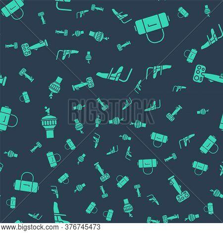 Set Airplane Seat, Suitcase, Radar And Aircraft Steering Helm On Seamless Pattern. Vector
