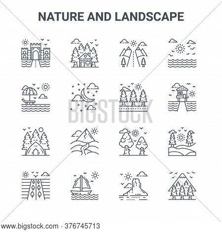 Set Of 16 Nature And Landscape Concept Vector Line Icons. 64x64 Thin Stroke Icons Such As Cottage, S