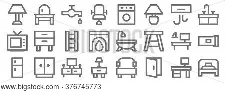 Home Furniture Line Icons. Linear Set. Quality Vector Line Set Such As Single Bed, Door Open, Night