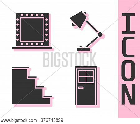 Set Closed Door, Makeup Mirror With Lights, Staircase And Table Lamp Icon. Vector