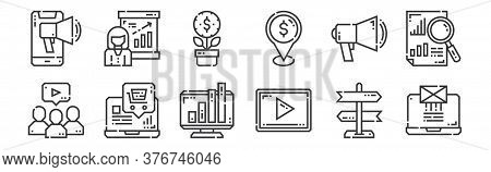 12 Set Of Linear Marketing Icons. Thin Outline Icons Such As Email, Video Marketing, Ecommerce, Mark