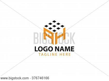 Business Corporate Letter Ah Logo Design Vector.letter Ah Cube Logo Vector Template. Letter Ah Logo