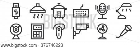 12 Set Of Linear Electronics Icons. Thin Outline Icons Such As Microphone, Cctv, Calculator, Microph