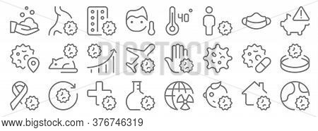 Coronavirus Line Icons. Linear Set. Quality Vector Line Set Such As Outbreak, Baby, Flask, Ribbon, P