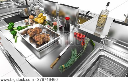 detail of a professional steel kitchen with fresh food. catering concept. 3d render.