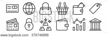 12 Set Of Linear Banking And Finance Flat Icons Icons. Thin Outline Icons Such As Bank, Wallet, Lock