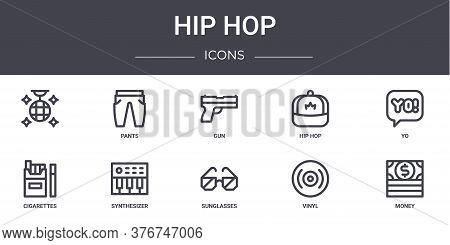 Hip Hop Concept Line Icons Set. Contains Icons Usable For Web, Logo, Ui Ux Such As Pants, Hip Hop, C