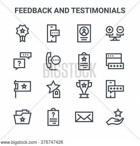 Set Of 16 Feedback And Testimonials Concept Vector Line Icons. 64x64 Thin Stroke Icons Such As Messe