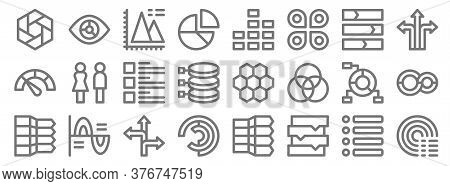Infographic Elements Line Icons. Linear Set. Quality Vector Line Set Such As Sweep, Arrow Chart, Pie