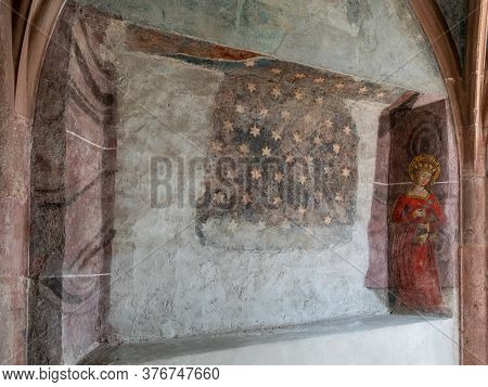 Basel, Bl / Switzerland - 8 July 2020:  Close Up View Of A Gothic Wall Mural Inside The St. Peter's