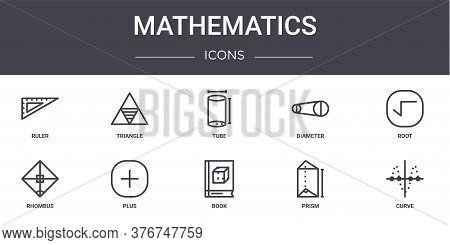 Mathematics Concept Line Icons Set. Contains Icons Usable For Web, Logo, Ui Ux Such As Triangle, Dia
