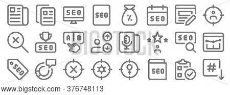 Web Apps Seo Line Icons. Linear Set. Quality Vector Line Set Such As Down Arrow, Guide, Setting, Lab