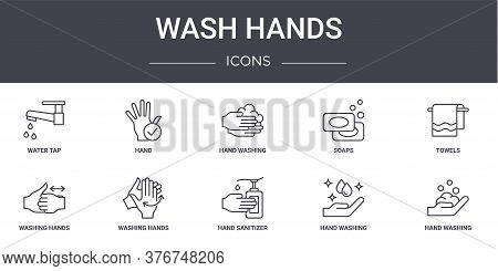 Wash Hands Concept Line Icons Set. Contains Icons Usable For Web, Logo, Ui Ux Such As Hand, Soaps, W
