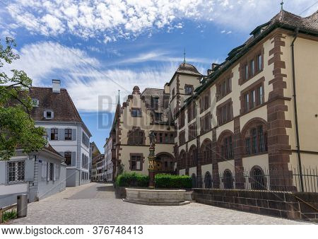 Basel, Bl / Switzerland - 8 July 2020: View Of The Cantonal Archives Of Basel At The Martinsplatz Sq