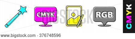 Set Magic Wand, Speech Bubble With Text Cmyk, Graphic Tablet And Speech Bubble With Rgb And Cmyk Ico