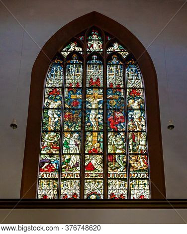 Basel, Bl / Switzerland - 8 July 2020:  Close Up View Of A Stained Glass Window Inside The St. Peter