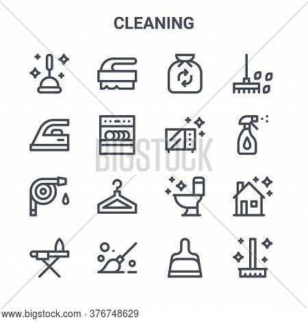 Set Of 16 Cleaning Concept Vector Line Icons. 64x64 Thin Stroke Icons Such As Brush, Iron, Cleaner,